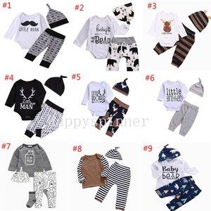 ملابس اطفال الربيع والخريف الحروف المطبوعة هابي الحلو + بنطلون + قبعة ثلاث قطع