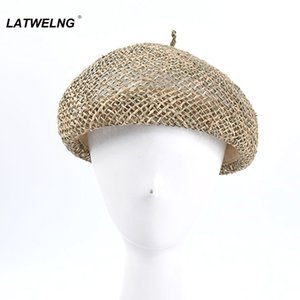 2020 New Sea Grass Beret For Women Fashion Summer Breathable Flat Caps Ladies French Hat S1082
