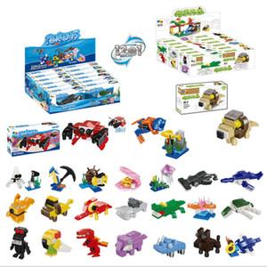 12 boîtes dans un ensemble bloc de construction animal marin château princesse forêt tropicale petites briques en plastique assemblés jouets pour les enfants