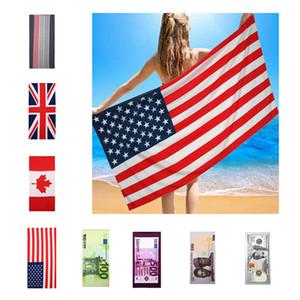 150 * 70cm Sommer-Mikrofaser Badetuch US-Flagge Britische Flagge US-Dollar Printed Strandtuch im Freien Spielraum Quick-Dry Sport Handtuch BH1886 TQQ