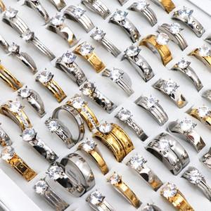 Женские кольца ювелирные изделия способа Циркон Rhinestone нержавеющей стали для женщин Мужчины Свадьба Обручальное подарков Mix Style