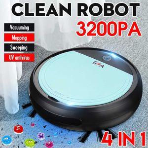 2019Rechargeable inteligente del robot 4 en 1 3200pa USB Smart Auto Robot de barrido Esterilizador UV Aspiradoras fuerte succión Sweeper