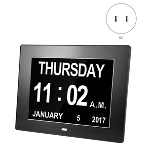Digital Calendar Alarm Day Clock - With 8 Inch Large Screen Display, Am Pm, 5 Alarm, The Aged Seniors, The Dementia, For Desk Other Clocks