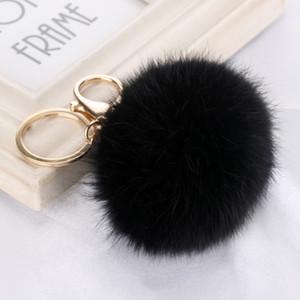 Or Porte-clé pompons Porte-clés Fausse fourrure de lapin boule KeyChain Pompon Angel Girl Pompon femmes Sac Fourrure Charms Bijoux