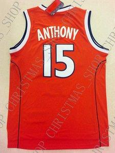 Ucuz toptan Carmelo Anthony Jersey 15. Syracuse Koleji Dikişli özelleştirme herhangi bir ad numarası BAY BAYAN GENÇLİK basketbol forması
