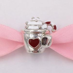 925 Gümüş Boncuk Isınma Otantik Kakao Charm, Beyaz Kırmızı Emaye Charms Avrupa Pandora Stil Takı Bilezikler Kolye 797 uyar