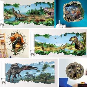 3d dinossauros Wall Stickers Decoração dos desenhos animados Sala período jurássico Animais Imprimir Decalque Mural Art Poster Peel vara