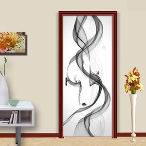 Modern Abstract Smoke Creative Art Mural Door Sticker 3D Curve Striped Living Room Door Wallpaper PVC Waterproof Papel De Parede Other Beddi