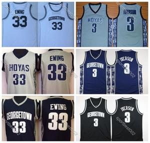 2020 NCAA Mens Georgetown Hoyas Iverson College Jersey Cheap 3Allen Iverson 33Patrick Ewing University Basketball Shirt Good Stitched Jersey