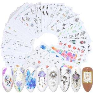 40pcs Nail Sticker переноса воды Nail Art Цветочные Таблички маникюрные Декоративные стикеры цветка