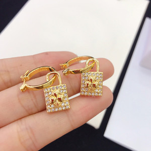 luxury designer jewelry women stud lock designer earrings with flower pattern elegant high-end retro asymmetric stud hoop fashion jewelry