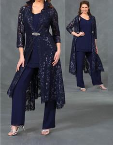 3/4 manches longues en dentelle vestes 2020 plus récent trois pièces mère de la mariée pantalon costumes en mousseline de soie de mariage partie robes