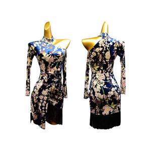 imprimir vestidos de baile latino para la venta de terciopelo tango vestido barato latino mujeres del desgaste de baile vestido de la borla de la ropa de la salsa