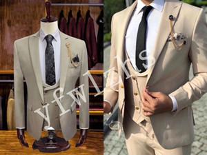 Handsome Golden buttons Groomsmen Groom Tuxedos Mens Wedding Dress Man Jacket Blazer Prom Dinner suits (Jacket+Pants+Tie+Vest) W172