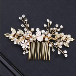 Crystal Flower Hair Combs Jewelry for Bride Simulated Pearls Hair Comb Tiaras Headpiece Wedding Hair Accessories
