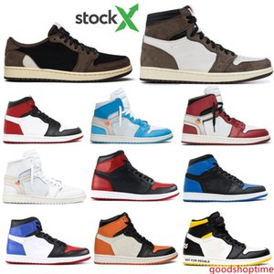 Cheap 1 High OG Banned Bred Toe Travis Scotts Low Fearless Obsidian Mens Basketball shoes Chicago OG 1s Game Royal Blue Women Sport Sneakers