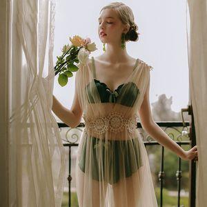5colors alta calidad ropa interior atractiva de la gasa del cordón del bordado neto Sheer larga noche de vestir Nightgowns Sleepshirts mujeres ropa de dormir