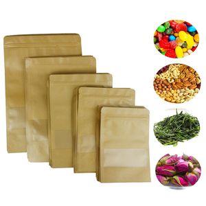명확한 창을 가진 100Pcs 음식 습기 방벽 부대 Kraft 종이 Doypack 주머니 Ziplock 포장 씰링 주머니