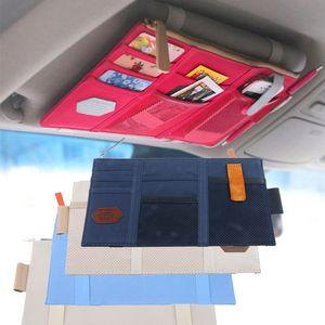 Car Organizer Kit Tissue Box Универсальные Сумки Для Хранения PU Sun Visor Подвесные Органайзеры Держатель Очков Кредитная Карта