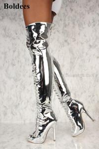 Einzigartiger Spiegel Leder-Silber-Gold-Blick-Zehe-Absatz-Schenkel-hohe Stiefel-Patent Kreuz gebunden Overknee-Stilett-Schuhe