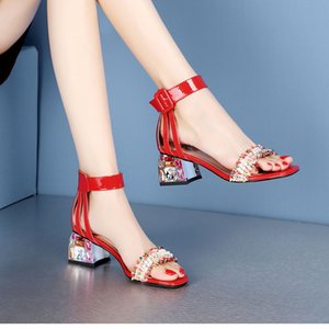20200607 New sandals, women's middle heel, thick heel, summer pearl, one word buckle, water drill, high heel, Roman women's shoes