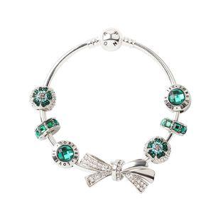 925 Diamonds mulheres prata cadeia Bow Pulseiras P Bangle manguito moda jóias presente grande buraco talão presente do Dia dos Namorados Bracelet