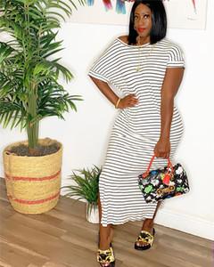 Summer Striped Printed Women Dress Casual Lâche Paneled Ladies Dresses Designer Designer Slash Neck Femme Vêtements avec Split