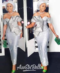 2020 Nuovo Aso Ebi stile fuori dalla spalla Prom abiti a maniche corte d'argento Mermaid tea-lunghezza occasione convenzionale Nigern Style Prom Dresses personalizzato