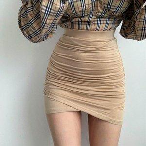 XIABNI High waist pleated bandage short skirt female sexy street party tight elastic Mini wrap hip skirt irregular apricot CX200703