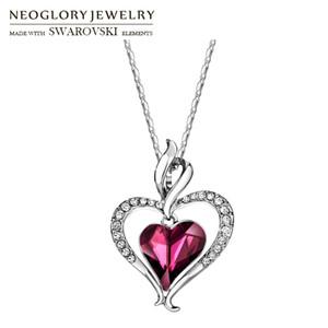 Dichiarazione Ciondolo Neoglory Rhinestone di cristallo lungo fascino collana doppio Cuori Trendy regalo per le donne giornaliera CJ191221