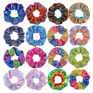 Kadınlar Parlak Lazer Scrunchies Saç Bandı Halat PU Deri Elastik Saç Halka Kızlar at kuyruğu Tutucu Çember Gradyan Scrunchie Kafa 16 Renkler