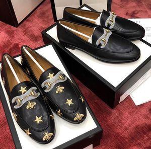 Jordaan Series أحذية جلدية للرجال والنساء General Paris Luxury Star Embroidery Bee Leather Shoes
