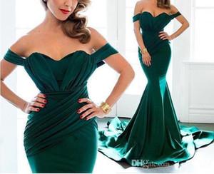 2020 Nueva hombro formal vestidos de noche Off capilla tren satinado tamaño Árabe 2018 vestidos largos de dama de honor Vestidos de baile por encargo