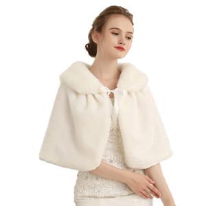 Rojo / blanco de piel falsa capelet de imitación de novia de piel de conejo del encogimiento de hombros del abrigo del mantón de la boda de piel falsa lazo de la cinta capelet