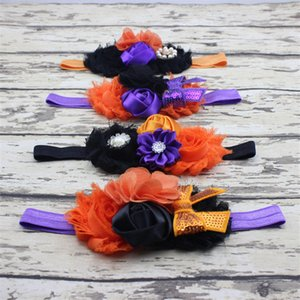 5styles Halloween baby Headbands Bow Flower Headbands Boutique Girls Tiara Rhinestone Satin Hair Accessories Kids Chiffon Hairband FFA2877-2