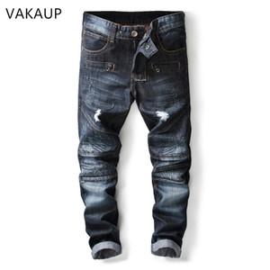 2019 Jeans Washed calças jeans azul rasgado Rider Biker Jeans Retro Motorcycle Hip Hop