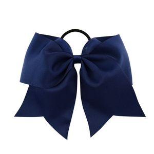8 Inch Grande fita Cheerleading Sólidos Arcos Grosgrain elogio Laço de curvas Com elástico / Girls Rubber Band cabelo bonito EEA1367-5