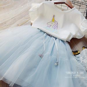 Las muchachas del verano del unicornio Trajes Niños princesa sistemas de los niños imprimió la historieta de Falbala de la manga de la camiseta + lentejuelas tul tutú faldas 2pcs V020