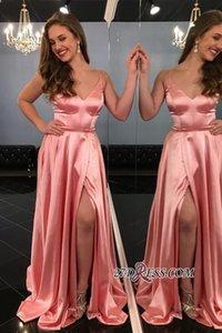 Seksi Derin V Yaka Yan Yarık Spagetti-Sapanlar Su A-Line Gelinlik Modelleri Ucuz Elastik Saten Abiye giyim Artı Boyutu özel Durum Elbise