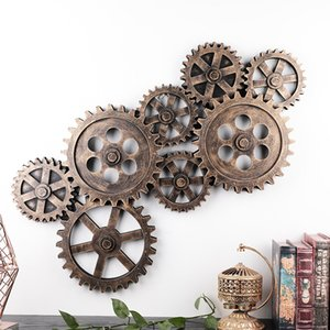 Nordic Retro Industrial 8pcs Wooden Gear 3D Wood Wall Hanging Decoration Bar Dining Room Cafe Steampunk Home Metal Garden Decors