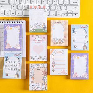100 листов / шт Симпатичные карикатуры животных кролик Sticky Notes Memo Pad Diary Стационарные Хлопья Scrapbook Декоративные Липкие блокноты