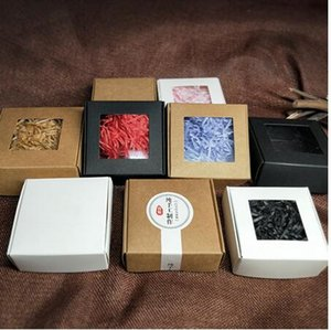 Kutu Düğün Packaging Toptan 50pcs Kraft Kağıt Kutu Şeffaf PVC Pencere Sabun Kutular Takı Hediye Şeker Şekeri