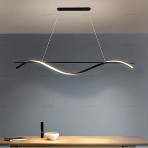 Minimalist Black LED Pendant Light Nordic Designer Creative Long Hanging Lamp For Restaurant Coffee Shop Dinging Bar Office Deco LLFA