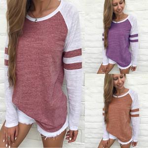 스플 라이스 긴 소매 T 셔츠 여성 티즈 색 스트라이프 라운드 넥 느슨한 패치 워크 중간 길이 니트 직물 (23)