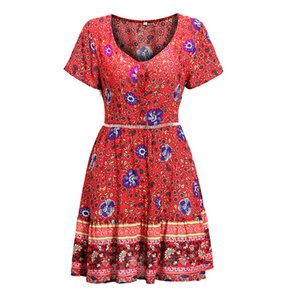 Explosion summer new women's clothing European and American sexy deep floral holiday beach dress summer, support mixed batch