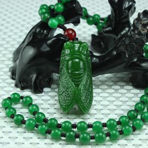Envío gratis Xinjiang verde jade cicada colgantes Abrir nuevo pit jasper un asombroso colgante de jade colgante collar de jade