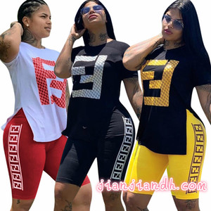 3746 Cross-border 2019 European and American women's hot stamping F sports casual pants set two-piece night club 82325