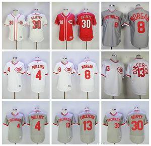 Pullover 1976 Vintage Baseball 8 Joe Morgan Jersey 13 Dave Concepcion 30 Ken Griffey Jr 4 Brandon Phillips 2016 Flexbase basso freddo bianco