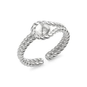 Twisted-Band-Ring-Perlen-Einstellungen 925 Sterlingsilber-Blanks DIY Schmuckherstellung Perlen-Einfassung 5 Stück
