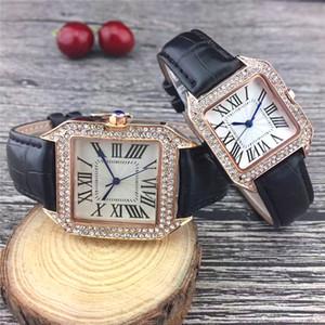 Erkekler ve kadınlar saatler kuvars hareketi yüksek kaliteli tasarımcı su geçirmez saatler saatler sevgilisi deri kayış altın elmas durum için saatler